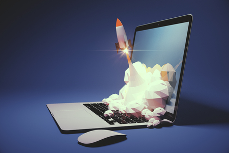 Startup concept with rocket flying out of laptop screen on blue background. Sideview, 3D Rendering