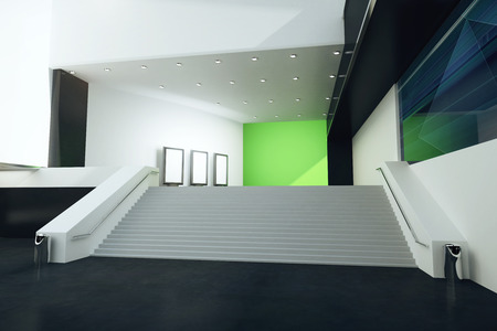 futuristic interior: Stairs in futuristic interior with green wall, black floor and illuminated ceiling. 3D Rendering