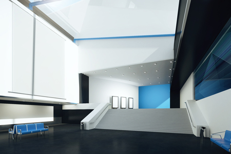 black floor: Interior with blank billboard, blue benches and black floor. Mock up, 3D Rendering