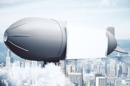 bill board: Sideview of airship with blank billboard on city background. Mock up, 3D Rendering
