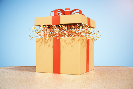 christmas present: Desktop with brown gift box on blue background. 3D Rendering