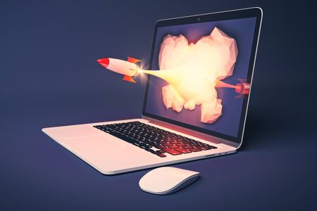 emarketing: Startup concept with rocket flying out of laptop screen on blue background. 3D Rendering