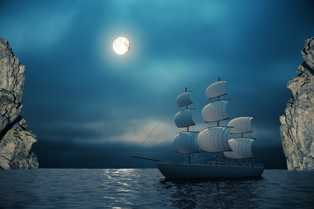 brigand: Ship on water with night sky, cliffs and moon in the background. 3D Rendering