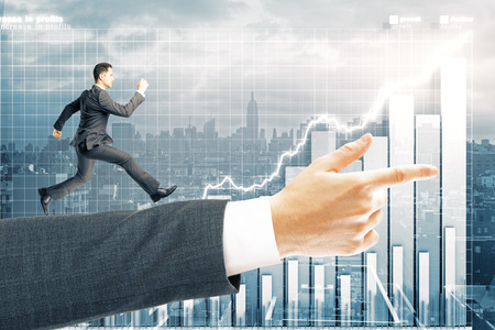 man business oriented: Miniature of man running on arm pointing forward with business chart in the background. 3D Rendering