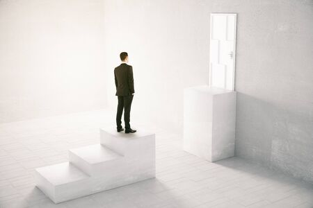 upstairs: Concept of obstacle overcoming with businessman standing in front of missing step on his way to a white door. 3D Rendering Stock Photo