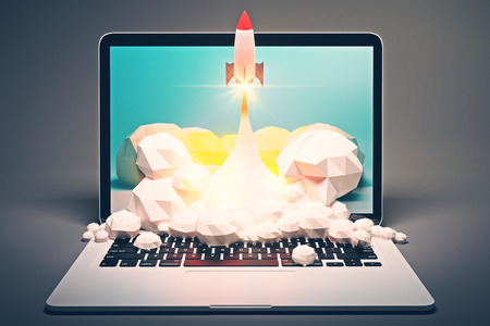 emarketing: Startup concept with rocket flying out of laptop screen on grey background. 3D Rendering