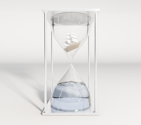 miniature: Ship miniature inside hourglass with water instead of sand on light background. 3D Rendering
