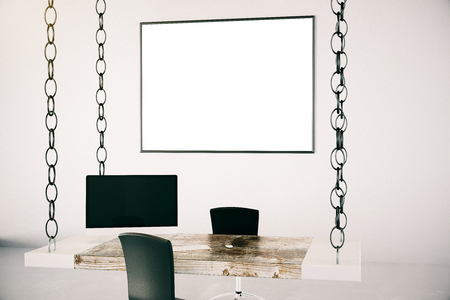 suspended: Office interior with blank frame on wall, desk suspended on chains, computer monitor and chair.Mock up, 3D Rendering