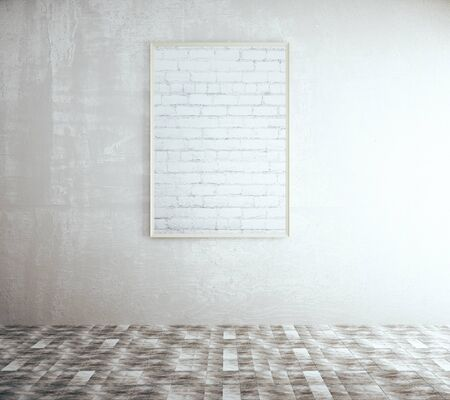 tile floor: Blank brick picture frame in room with concrete wall and tile floor. Mock up, 3D Rendering