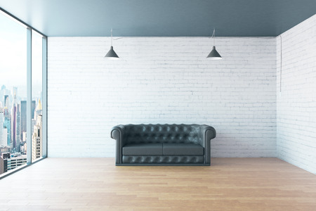 leather sofa: Interior with leather sofa, blank brick wall, wooden floor and city view. Mock up, 3D Rendering Stock Photo