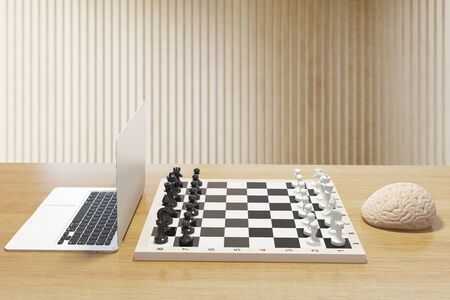 mentioned: Computer vs human brain concept with two of the previously mentioned playing chess on wooden desktop. 3D Rendering