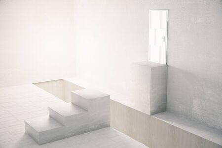 stairs interior: Interior with gap in the middle of stairs leading to white door. 3D Rendering