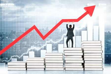 upholding: Education concept with man standing on book stairway and upholding red arrow on business chart background. 3D Rendering