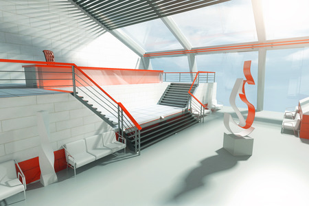 stairs interior: Futuristic interior with stairs, panoramic windows and abstract fire art piece in the middle. 3D Rendering