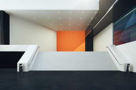 futuristic interior: Stairs in futuristic interior with black floor, orange wall and illuminated ceiling. 3D Rendering Stock Photo