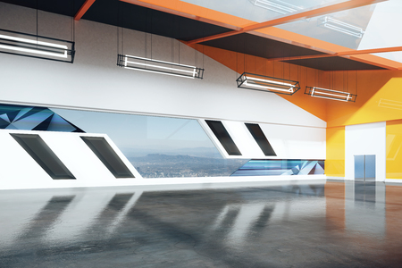 loft interior: Modern loft interior with black floor, orange walls and city view. Sideview, 3D Rendering