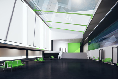 black floor: Interior with blank posters, green benches and black floor. Mock up, 3D Rendering Stock Photo