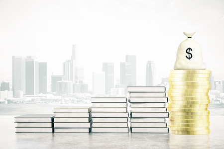 leading the way: Book ladder leading to golden coins and money bag on city background. Success concept, 3D Rendering