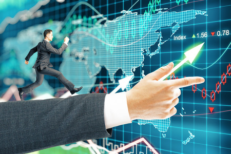 man business oriented: Miniature of businessman running on arm pointing forward on forex background. 3D Rendering
