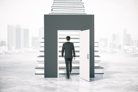 ladder: Education concept with businessman climbing book ladder on abstarct city background. 3D Rendering