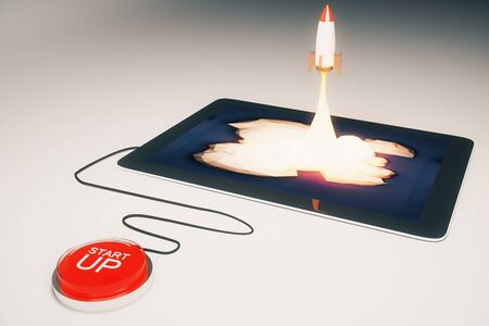 emarketing: Start up concept with red button and abstract rocket launching from tablet screen on light grey background. 3D Rendering