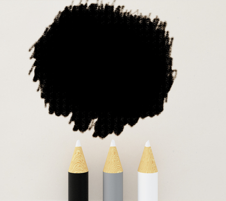 ink stain: Three pencils and ink stain on light background. Mock up Stock Photo