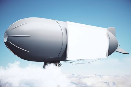 sideview: Sideview of airship with blank banner in the sky. Mock up, 3D Rendering