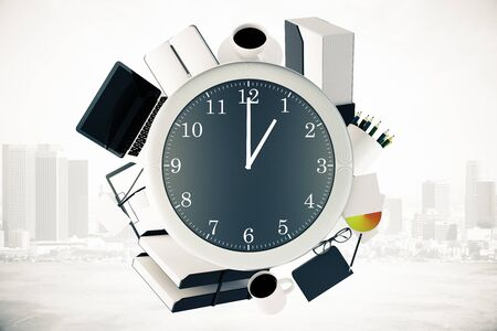 around the clock: Office tools around big clock on misty city background. Time management concept. 3D Rendering