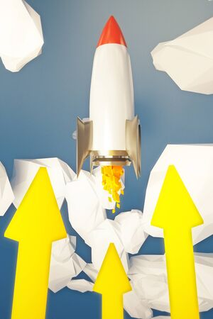 going up: Start up concept with rocket going up in abstract sky with yellow arrows. 3D Rendering