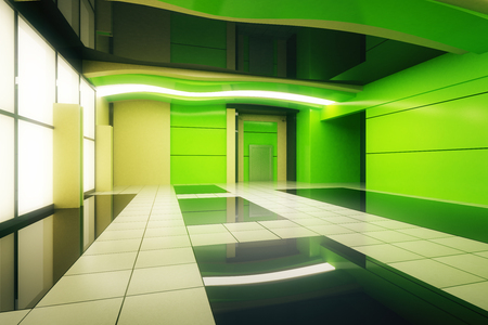 unfurnished: Unfurnished green futuristic interior. 3D Rendering