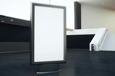 black floor: Blank billboard in interior with black floor and stairs. Mock up, 3D Rendering