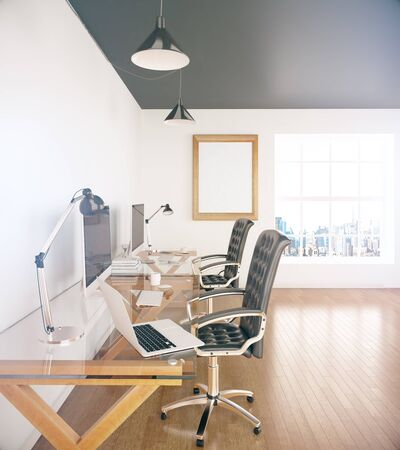office window view: Side view of two designer desktops in office with wooden floor, blank picture frame and window with city view. Mock up, 3D Rendering