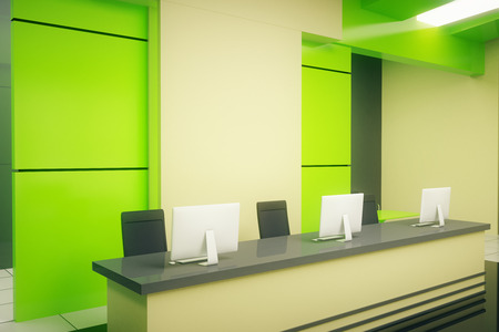 hotel hall: Sideview of reception stand in modern green interior. 3D Rendering Stock Photo
