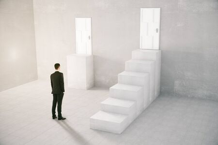 Decision making concept with businessman standing next to staircase leading to door and another door without stairs. 3D Rendering