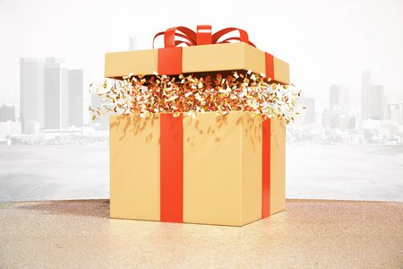 wrap wrapped: Desktop with brown gift box on city background. 3D Rendering Stock Photo