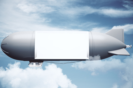 bill board: Airship with blank billboard in cloudy sky. Mock up, 3D Rendering