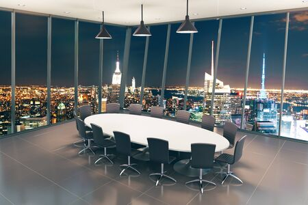 Boarding room interior with night city view. 3D Rendering