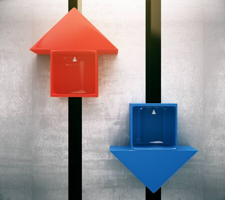 go inside: Different direction concept with red and blue arrow lifts going up and down. 3D Rendering Stock Photo
