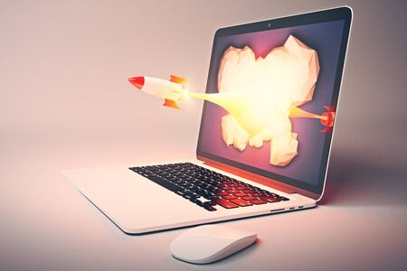 laptop screen: Startup concept with rocket flying out of laptop screen on gray background. Sideview, 3D Rendering