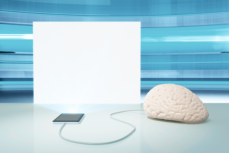 electronic device: Brain connected to electronic device and blank white banner on blue background. Mock up, 3D Rendering Stock Photo