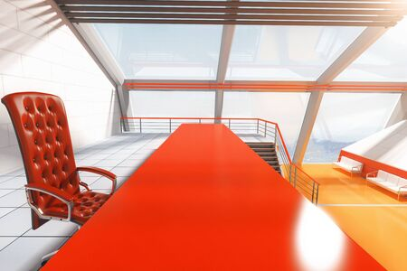 futuristic interior: Red table and chair in futuristic interior with panoramic windows and stairs.Closeup, 3D Rendering Stock Photo