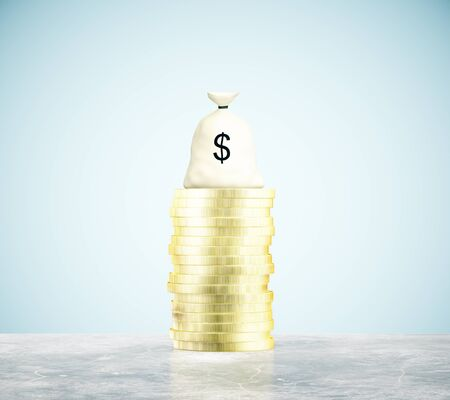 dime: Money bag and coins on concrete floor and blue background. 3D Rendering