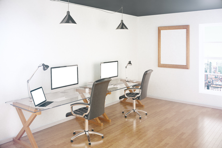 office window view: Two white computer and laptop screens on desktops in office with wooden floor, picture frame and window revealing city view. Mock up, 3D Rendering