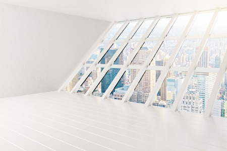 panoramic windows: Spacious interior with blank wall and panoramic windows with city view. Mock up, 3D Rendering