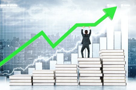 upholding: Education concept with man standing on book stairway and upholding green arrow on business chart background. 3D Rendering