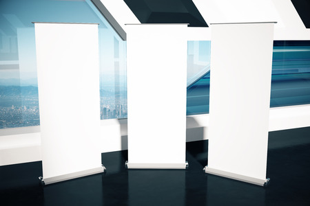 show bill: Three blank banners in interior with city view. Mock up, 3D Rendering Foto de archivo
