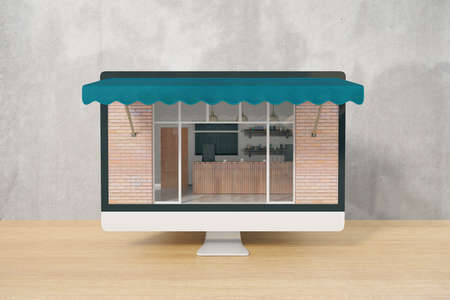 ordering: Ordering food online concept with cafe exterior on computer monitor placed on wooden desktop and concrete wall background. 3D Rendering