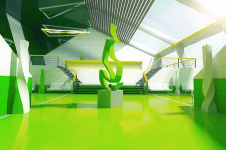 art piece: Green interior with stairs, panoramic windows and abstract fire art piece in the middle. 3D Rendering