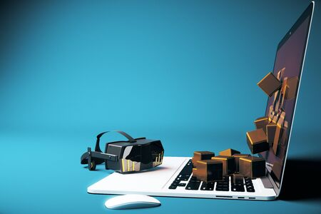 virtual reality simulator: Virtual reality glasses next to laptop with square blocks falling out of screen on blue background. Side view, 3D Rendering