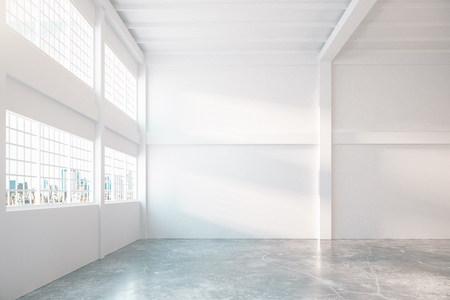 city view: Concrete hangar interior with city view. Mock up, 3D Rendering Stock Photo